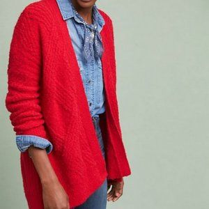 Anthropologie | Moth Red Cable Knit Open Cardigan
